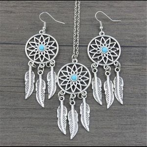 Turquoise Blue Feather Necklace Earrings Silver